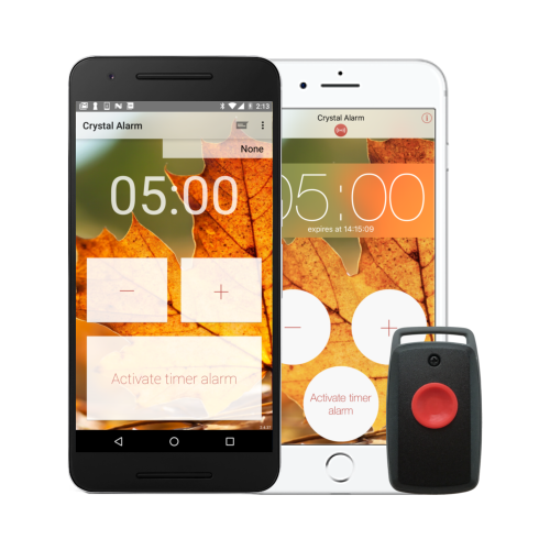 Crystal Alarm på Android och iPhone samt Crystal Button CB10