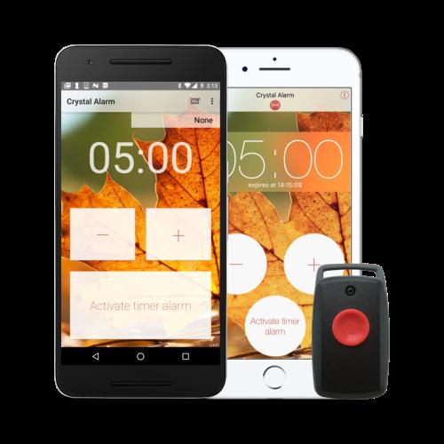 Crystal Alarm på Android och iPhone samt Crystal Button CB10